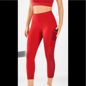 Fabletics Mila High-Waisted Pocket Capri Red